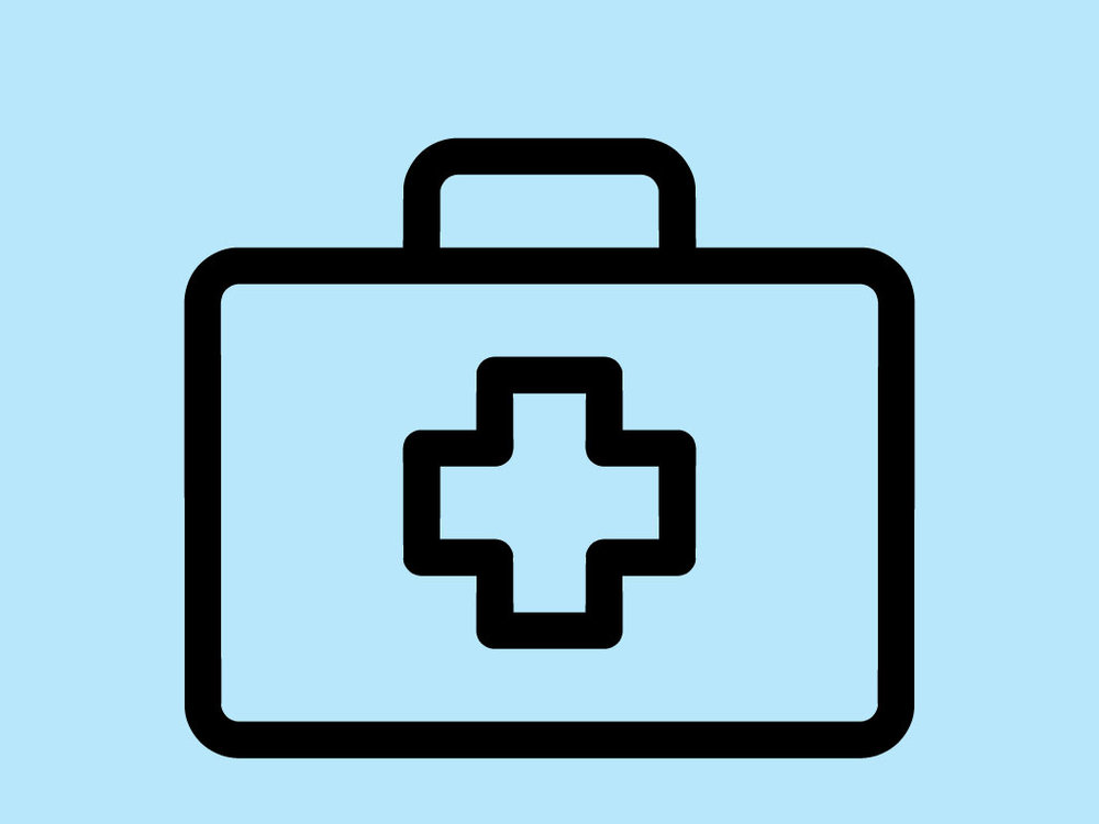 Piktogramm Gesundheitswesen: Arztkoffer mit Kreuz