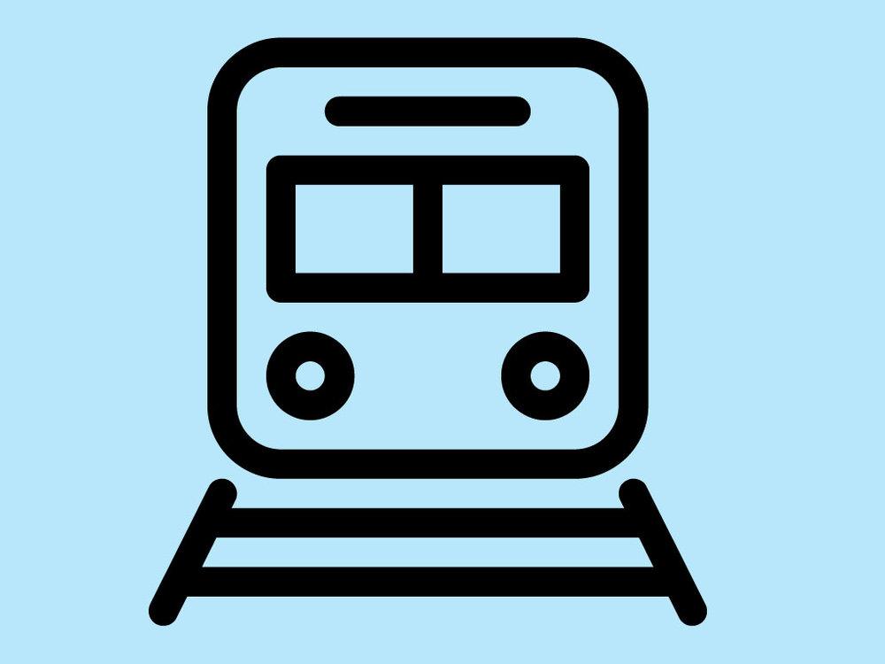 Piktogramm öffentlicher Verkehr: Zug von vorne auf Schienen