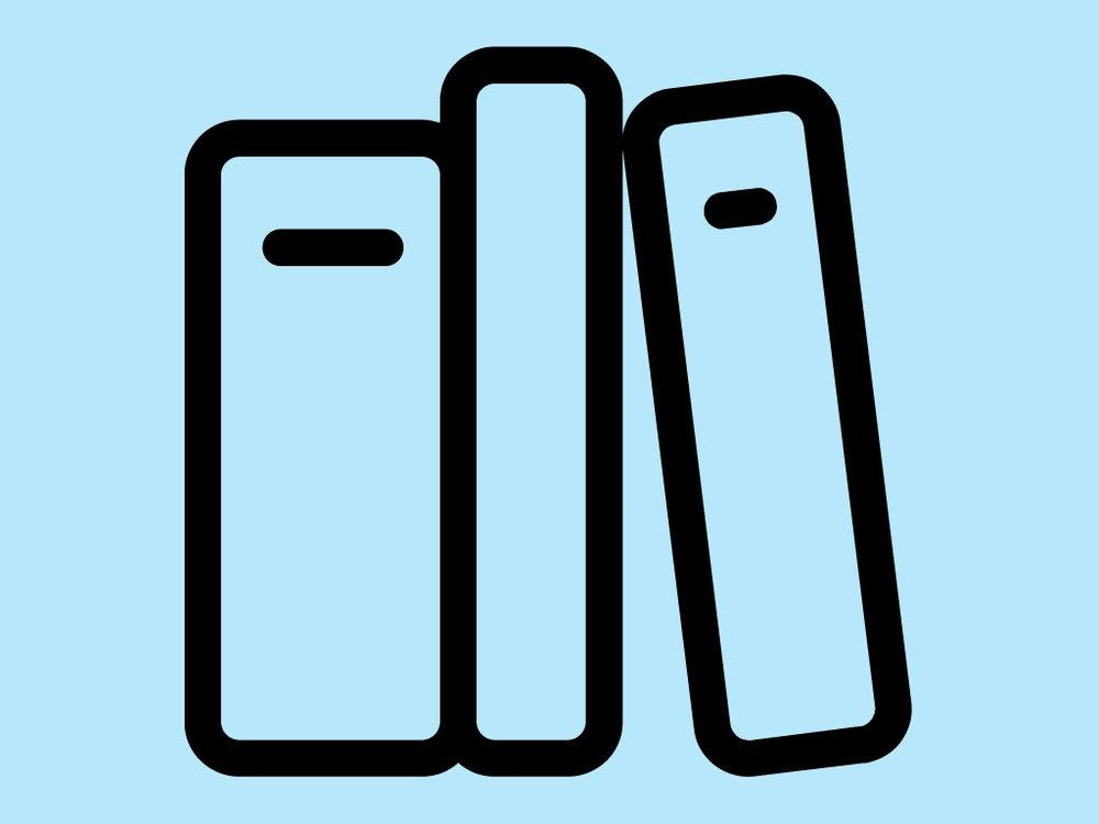 Piktogramm Bildung: drei Bücherrücken