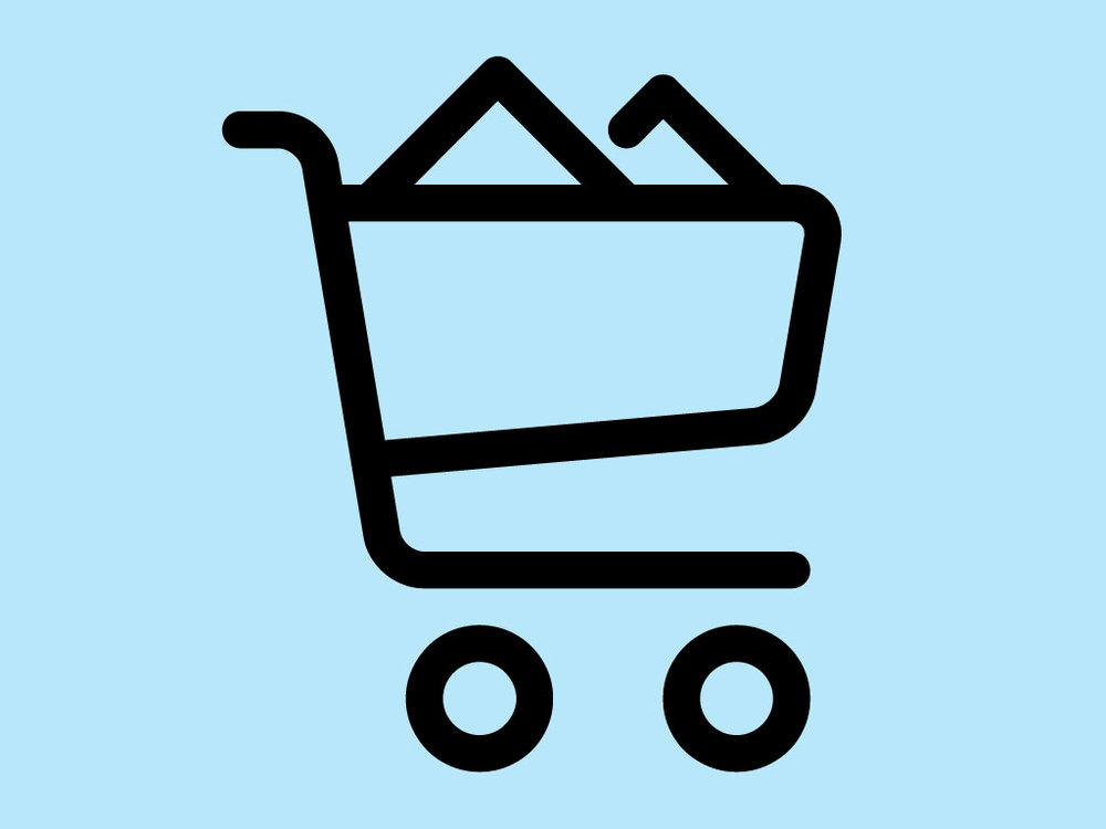 Piktogramm Detailhandel: gefüllter Einkaufswagen