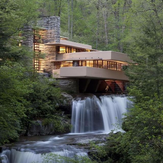 Architect: Frank Lloyd Wright / Falling Water This home was designed as a nature retreat. It has features such as a cantilevered deck with a view into the woods as well as the sound of the creek of which the house spans overtop of. The design intent of this house was for one to connect with nature and let it's peace restore you. The Lord is my shepherd, I shall not want. He makes me lie down in green pastures; He leads me beside quiet waters. He restores my soul; He guides me in the paths of righteousness for His name's sake. - Psalm 23: 1-3