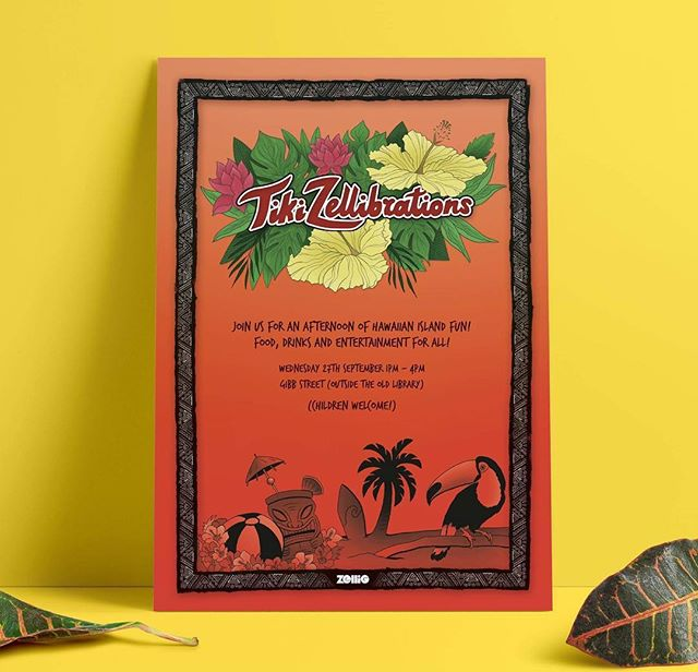 Come and join us for an afternoon of tiki zellibrations for our end of summer party on the 27th of September 🌴🏝 • • • • Poster design: @lisa_sketches #hawaiianparty #endofsummer #digbeth #gibbstreet #zellig #oldlibrary