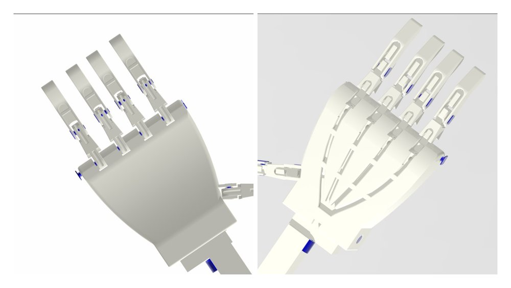 To assemble the hand... - ... you will need: 1 x palm; 5 x finger tips; 5 x knuckles; 6 x finger pins (one extra to join thumb to palm); and 2 x knuckle bars; along with 10 x orthodontic elastics.