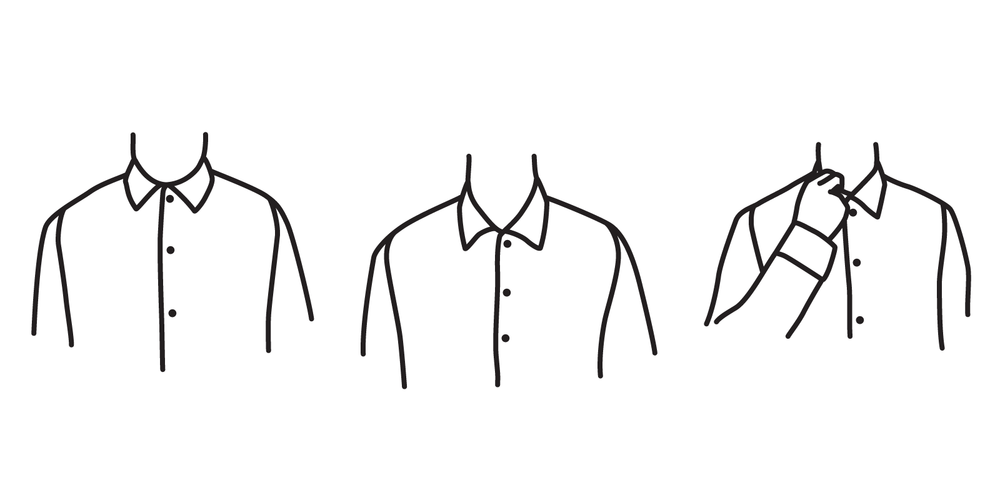 A collar should not be too tight around the neck (left), too loose (center), but fit just closely enough to accomadate two of your ingers (right).