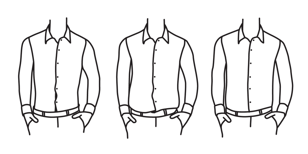 The midsection of your shirt shouldn't be so tight that it causes buttons to strain (left), but it shouldn't be so loose that it bags out around the sides (center). There should be just 1-2 inches of excess fabric on either side (right).