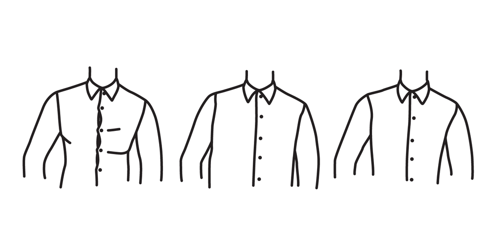 The chest of the shirt should not be so tight that it strains buttons (left), and should not be so wide that it loses shape (center). It should conform to the shape of your body (right).