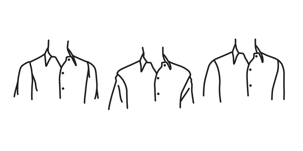 The seams of the shirt should not end before your shoulders (left), or after your shoulders (center), but should align with them (right).