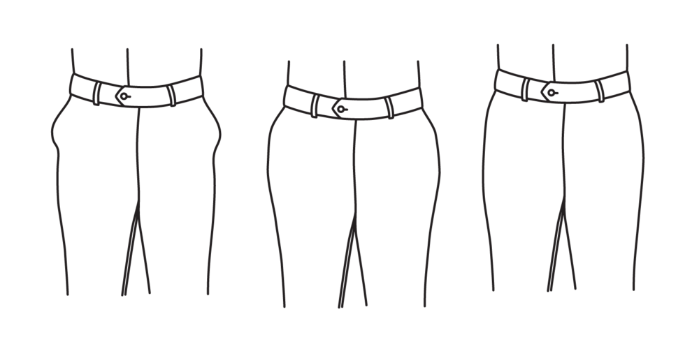 """The hips should not be so tight as to cause pockets to """"bow"""" (left), or too loose to leave excess fabric (center). There should be a half-inch of fabric on either side of the hip (right)."""