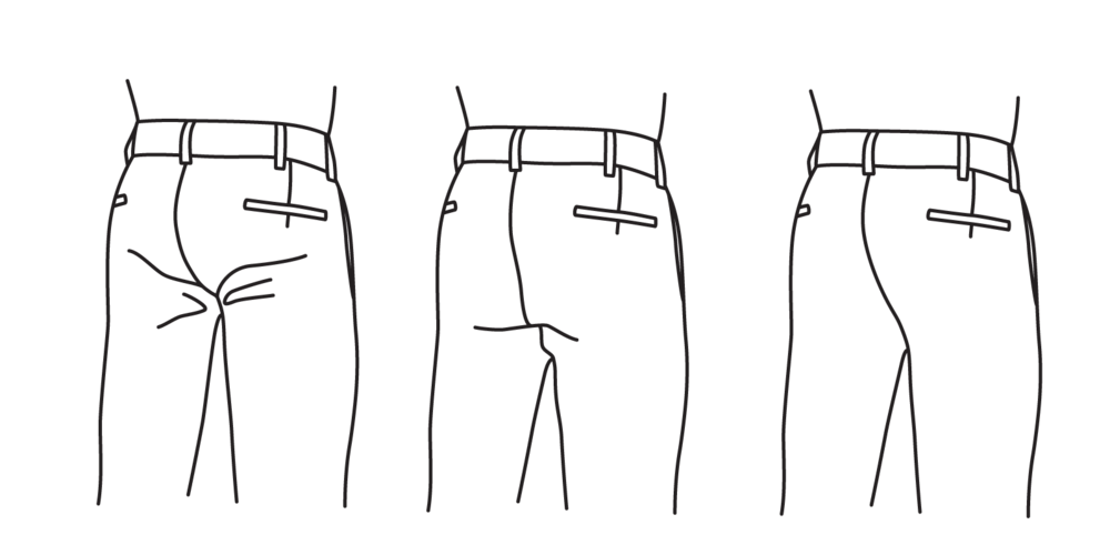 The drop should not be so high as to cause straining (left), and should not be so low as to leave excess fabric (center). It should fall flat without bagging (right).