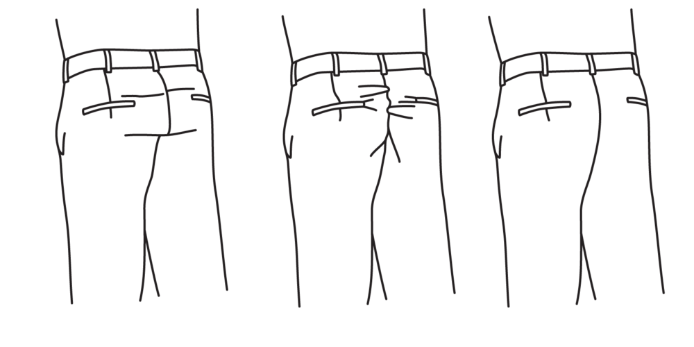 A seat that is too tight will cause fabric to strain (left), and a seat that is too loose will appear saggy (center). It should fall flat without straining or sagging (right).