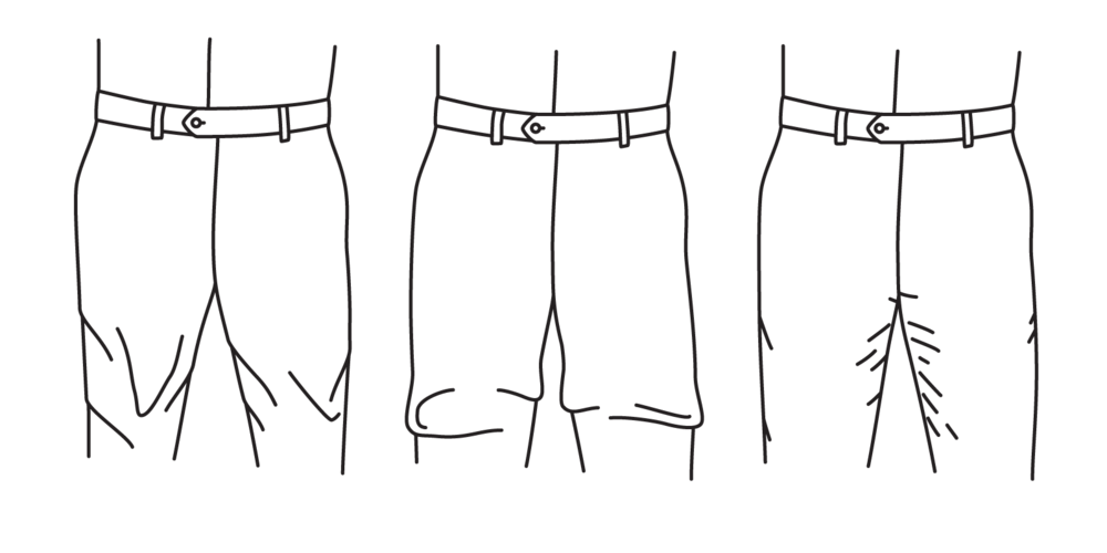 A thigh that is too small will cause straining (left), while a thigh that is too loose will cause excess fabric to bunch up (center). It should have just a small amount of rippling (right).