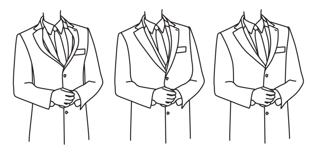 The chest should not be as tight as to cause lapels to bow (left), and should not be so loose as to appear baggy (center). It should fall flat without excess fabric (right),