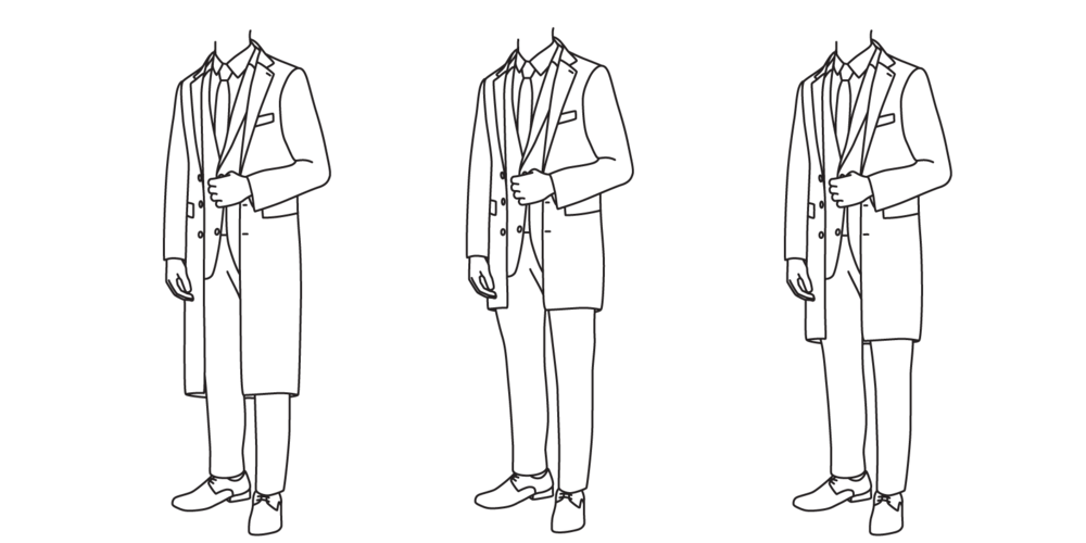 The coat should not be so long as to fall below the knee (left), but should not be so short as to end below mid-thigh (center). It should fall somewhere between the mid-thigh and knee (right).