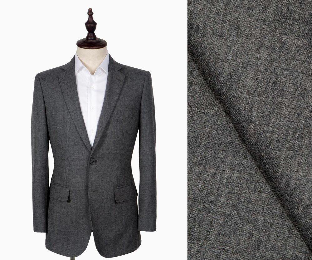 A light grey flannel suit.