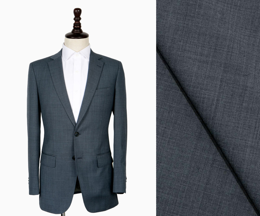 Steel blue worsted suit.