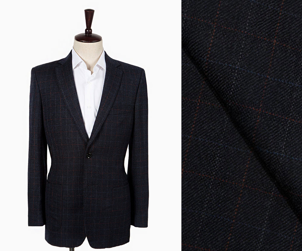 A navy hopsack windowpane suit.