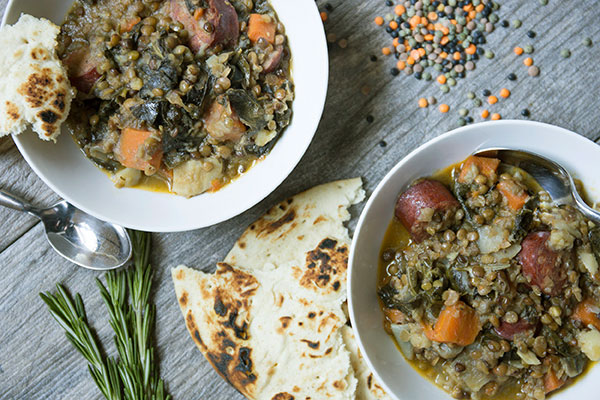 Lentil and Sausage Stew - This recipe uses fresh herbs, root vegetables, and a spicy chile pepper to bring our Gourmet Lentil Blend and sausage together in a hearty, delicious one pot meal that takes about an hour to cook.