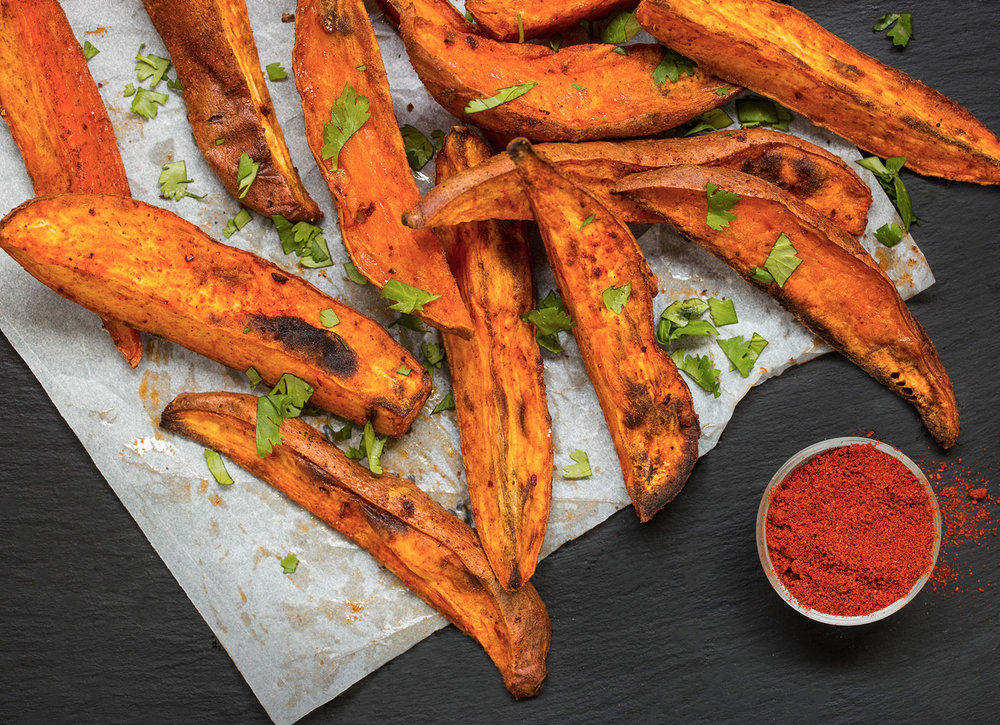 Smokey Harissa Roasted Sweet Potato Wedges