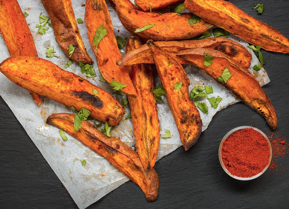 Smokey Harissa Roasted Sweet Potato Wedges