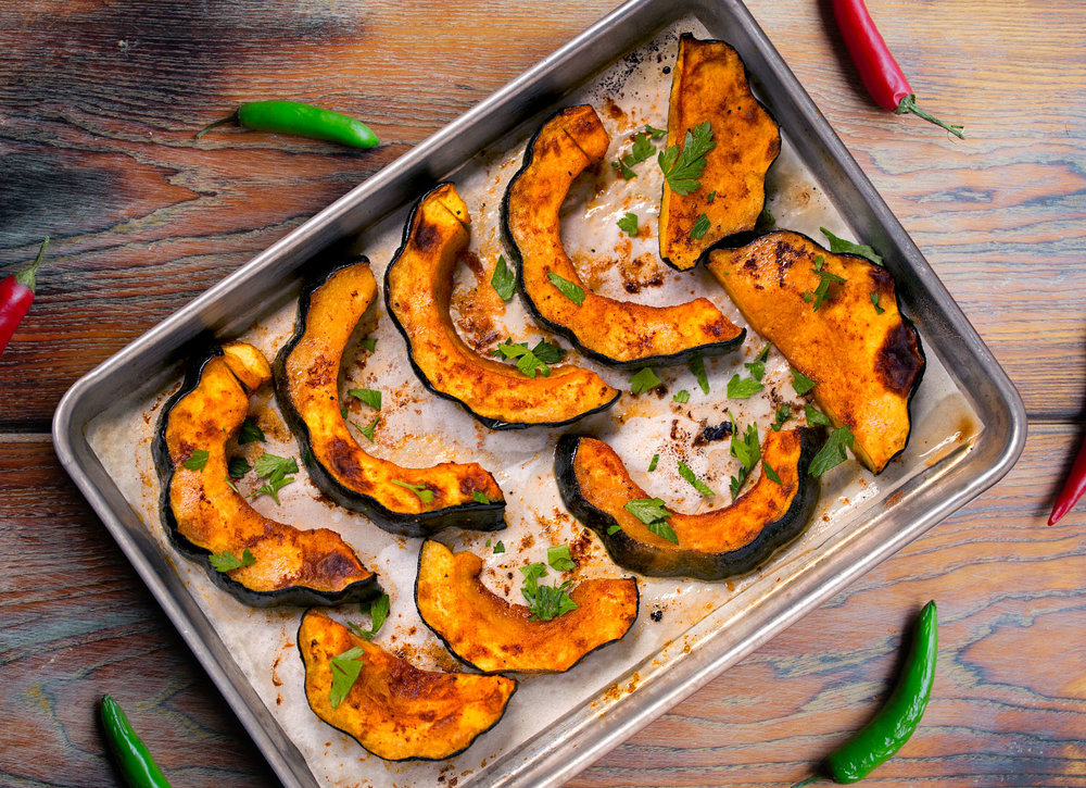 Sriracha and Honey Roasted Acorn Squash