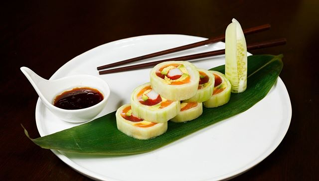 If you don't like your sushi wrapped in seaweed, try one of our cucumber wraps!
