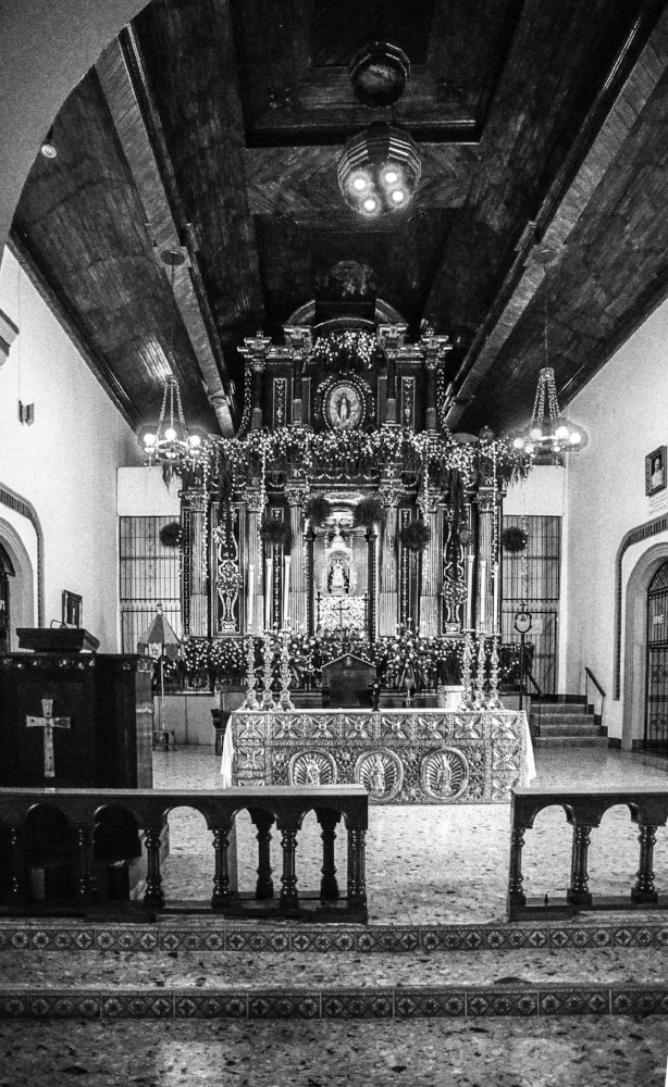 Interior, Iglesia of Immaculate Concepcion of the Virgin Mary, El Viejo. Nikon F2, Ilford HP5+