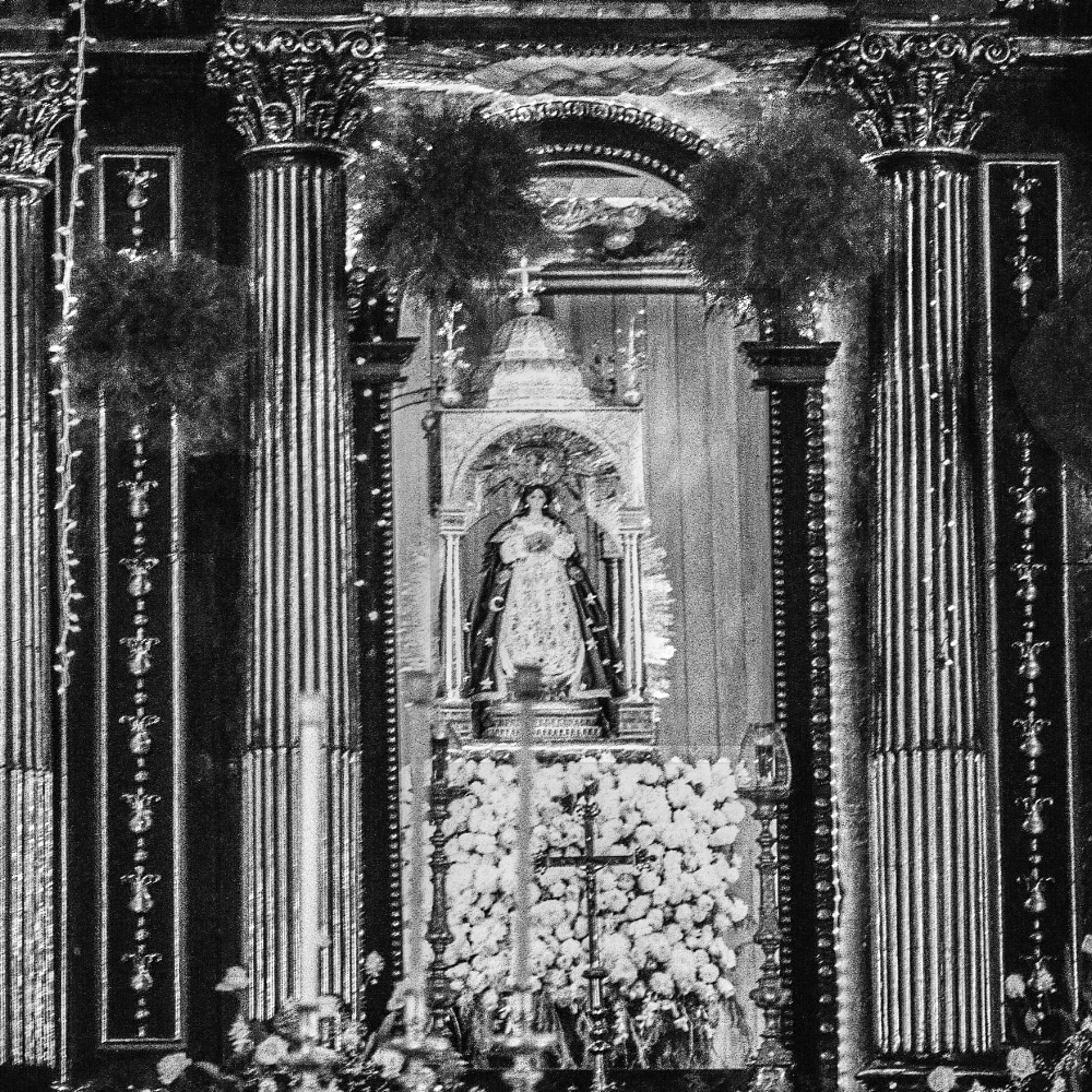 Statue of the Virgin Mary, Iglesia of Immaculate Concepcion, El Viejo. Nikon F2, Ilford HP5+