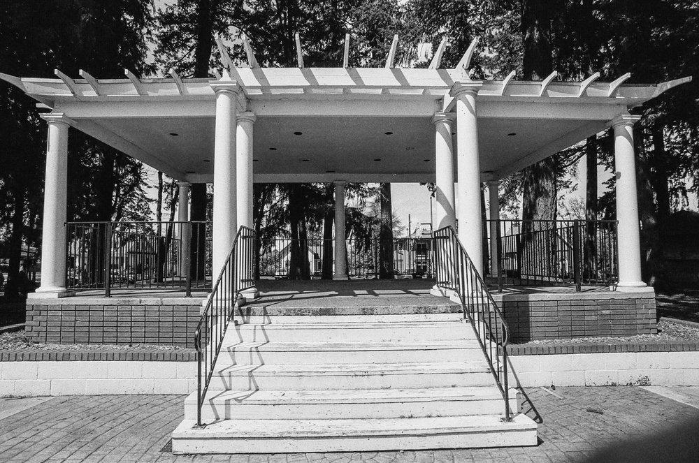 Bandstand, Dayton, Oregon. Kodak Tmax 100