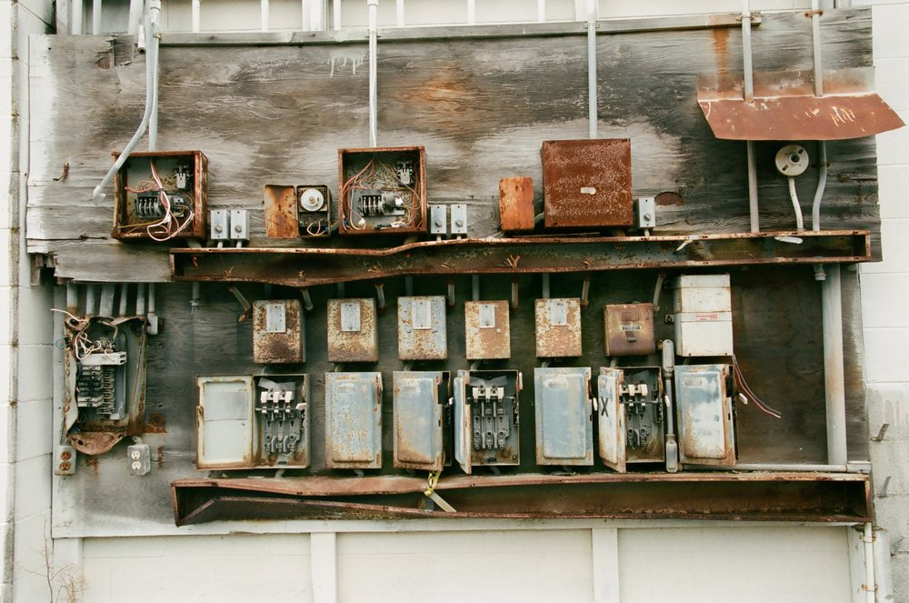 Junction Boxes, La Conner, Washington. Kodak Portra 400