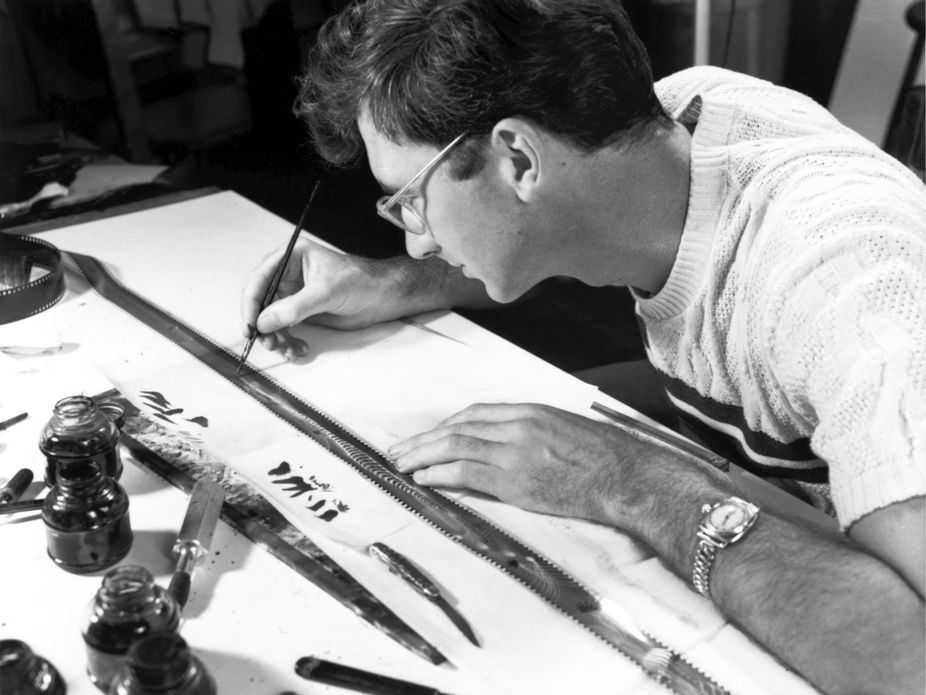 McLaren Drrawing directly on film to create his animation (1949)