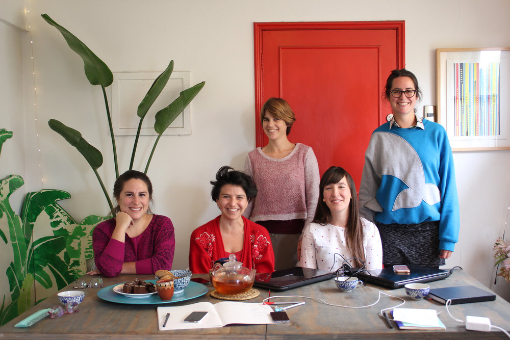 The organizing group of CINC, from left, Magdalena Pérez-de Arce, Javiera Dalaunoy, Geraldine Mackinnon, Francisca Espinoza, and Patricia Dominguez. Photo courtesy CINC.