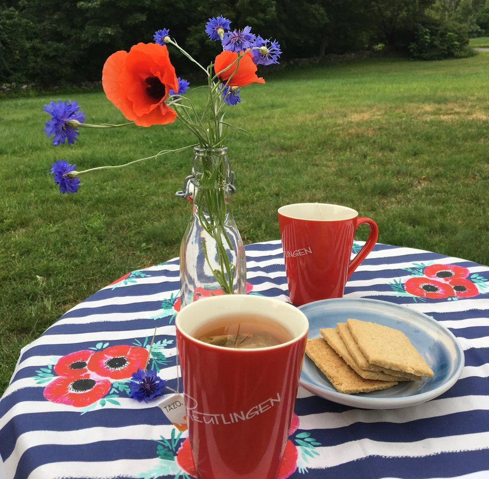 Tea for two? We brightened up a cloudy afternoon with some orange spice Tazo tea and Effies oatcakes.