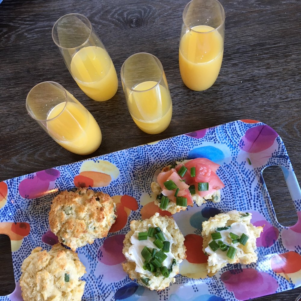 The best part about these scallion and cheddar biscuits is that they can be paired with so many different delicious breakfast foods. Try cream cheese, scallions or chives, plain butter, tomatoes, avocado spread, scrambled eggs or lox.