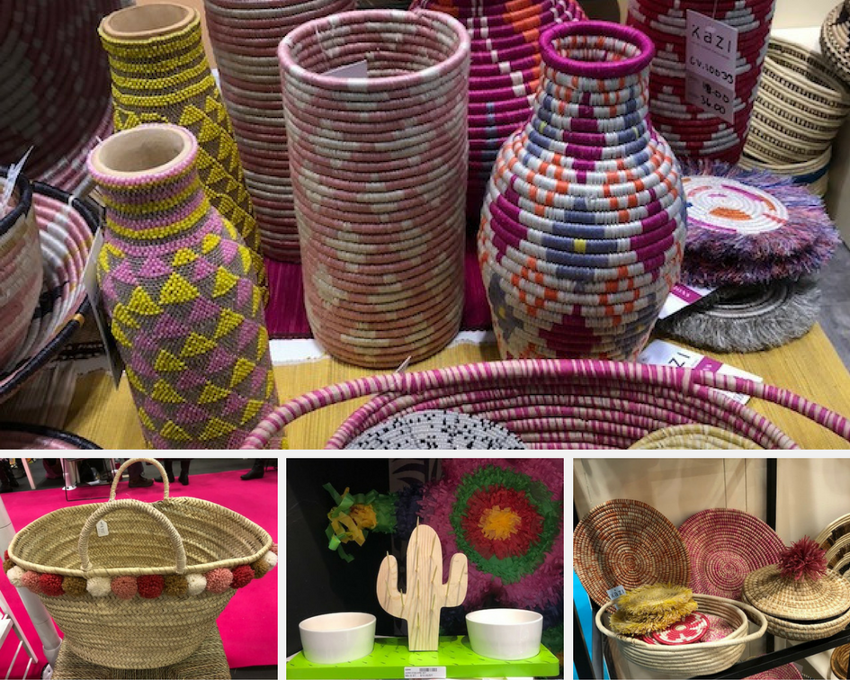 These cute little pom poms were popping up on everything from baskets to market bags.And that little cactus serving tray? The cactus needles are actually toothpicks ;)