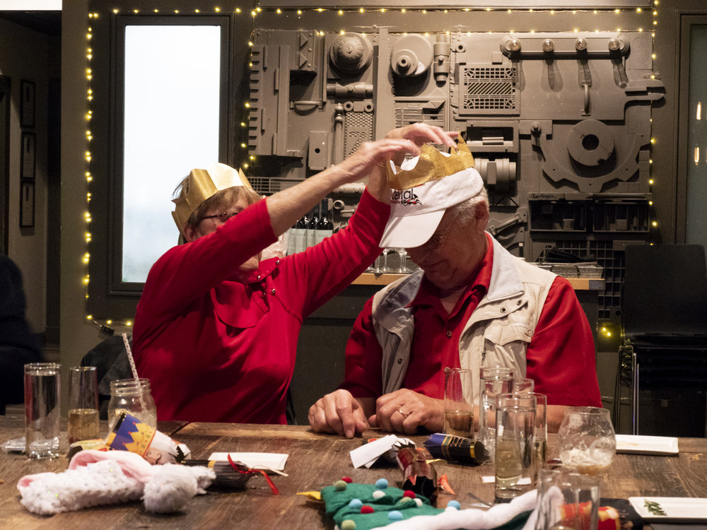 Eileen helping Pete with his Christmas crown