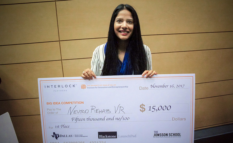 Student Veena Somareddy who snagged the top $15,000 prize as well as the $2,500 Diversity and Inclusion Award with  Neuro Rehab VR