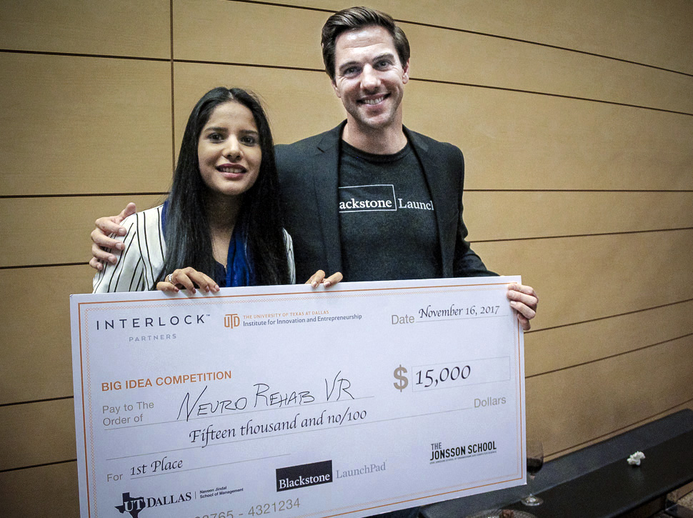 Neuro Rehab VR's Veena Somareddy with Blackstone Launchpad's Bryan Chambers at UTD's Big Idea Competition 2017.