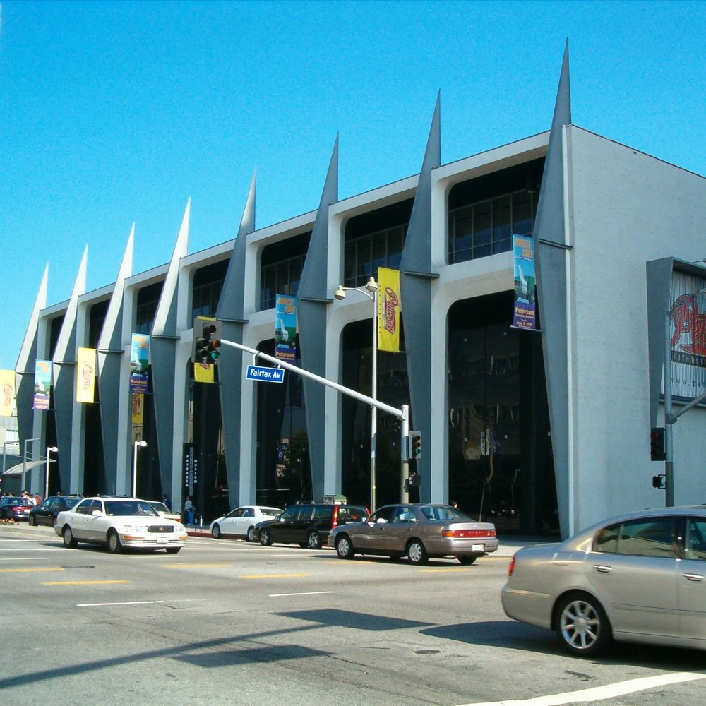 The old exterior of the Petersen Automotive Museum.