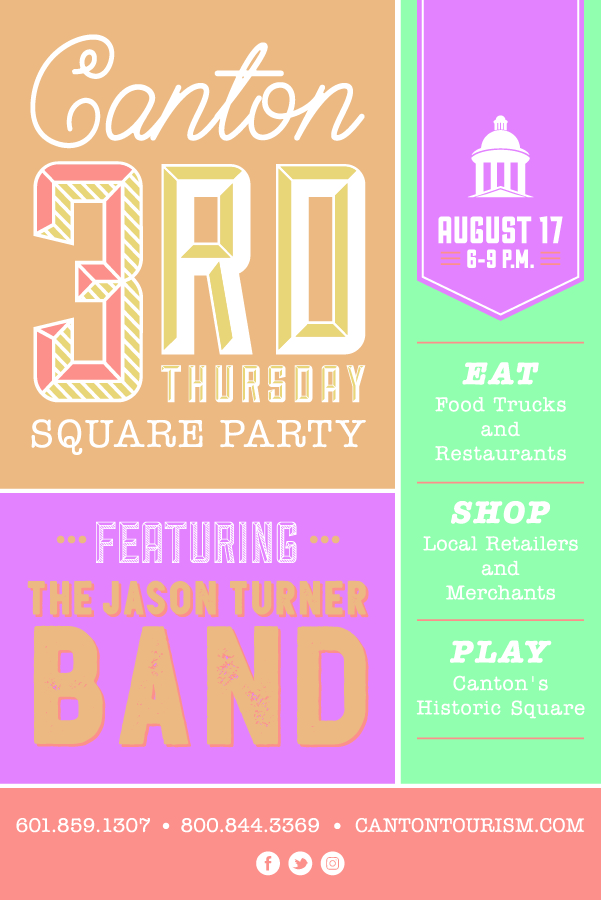 Canton's 3rd Thursday Square Party is held each third Thursday starting in the month of April and continues through the month of September! It's a great family friendly event that locals and visitors of all ages can enjoy great food, live music and shopping around the Canton's Historic Square for a fun-filled night! Check out our calendar of events so you can stay up to date throughout the year! -