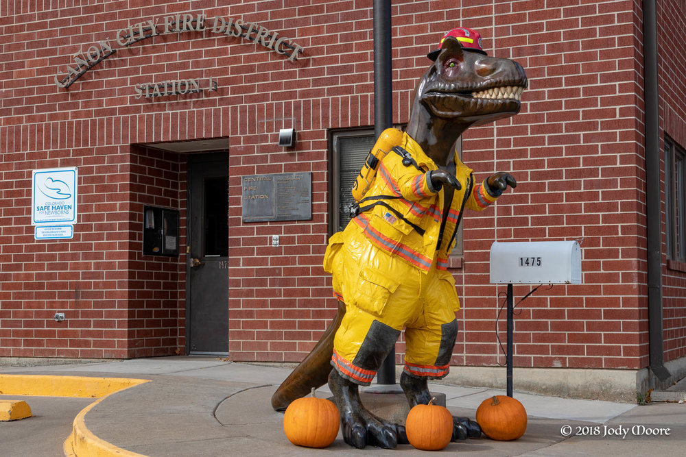 The Cañon City Fire Department's Dino Daze T.rex displays the classically incorrect upright stance, but that just helps him don his firefighting gear just a little easier.
