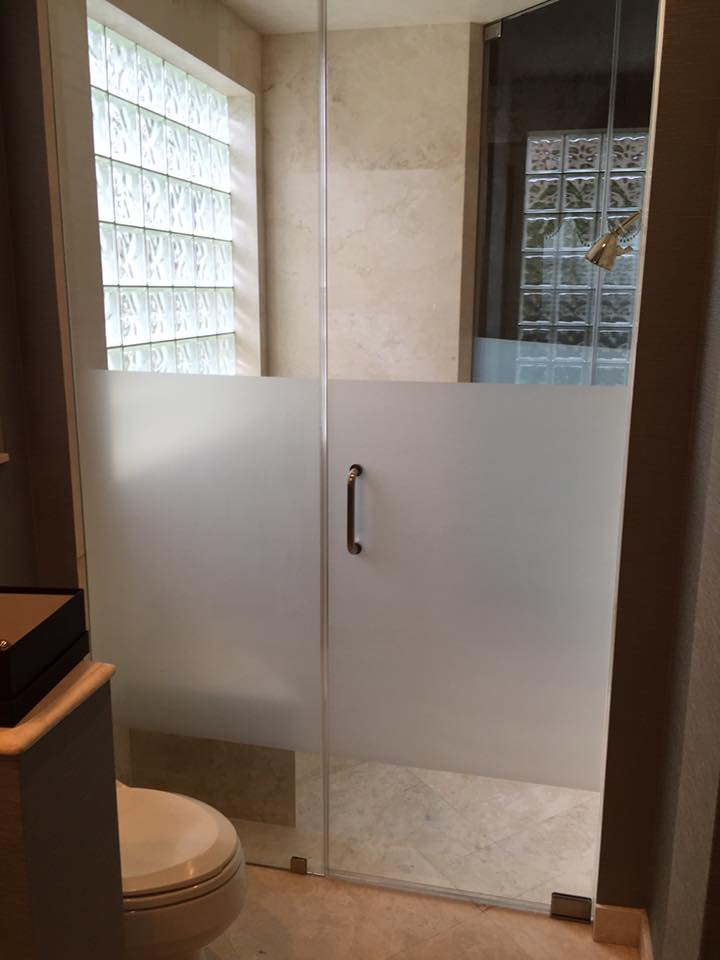 Add privacy frost film to your frameless showers.