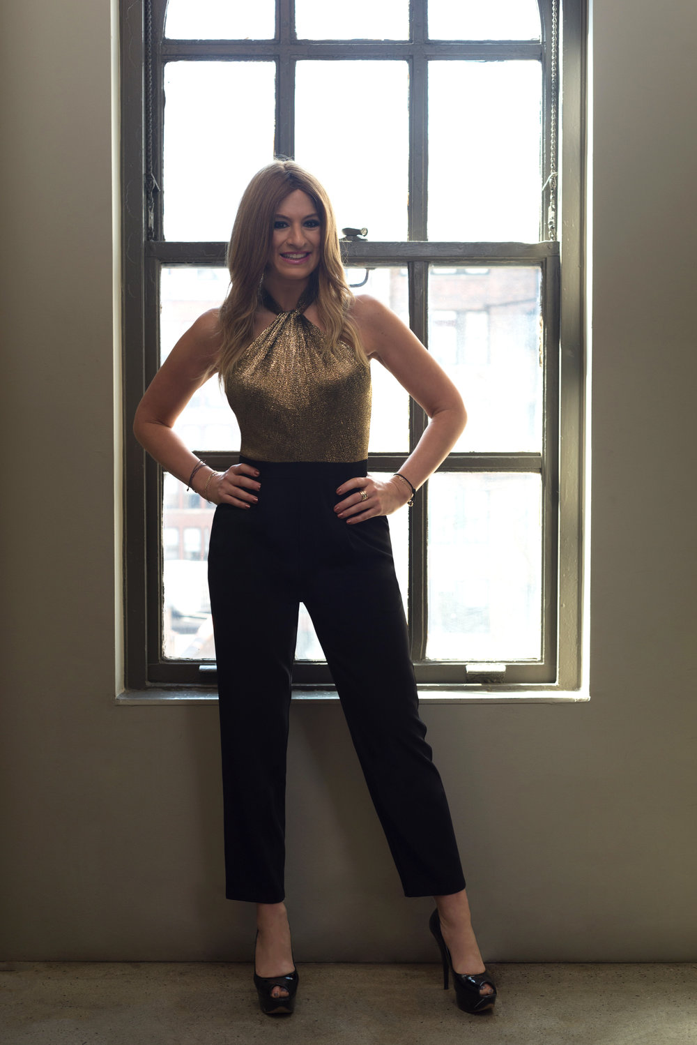 Denise is wearing our  Donna Jumpsuit