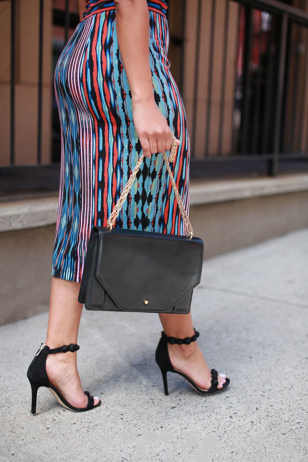 THE SHOES - Pack some sophisti-sexy strappy heels in your bag for a quick transition from your 5pm meeting to 6pm happy hour. We love the fun dimensional detailing on these!