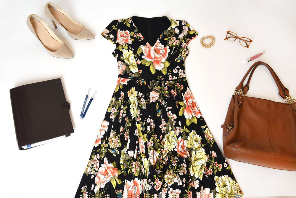 A polished dress with subtle, playful detailing is our 1-step solution to your work wardrobe refresh. Love florals? Try a more serious palette (like  this one !) for a look that's just as professional as it is  you .