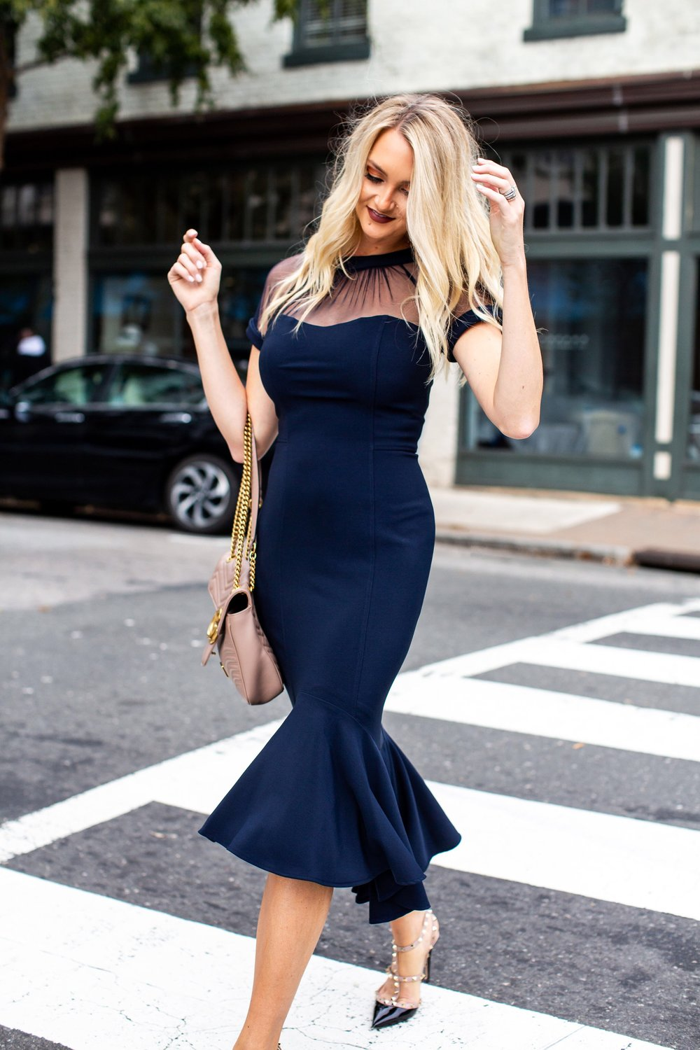 "The Alysia Dress - ""This dress is one of my favorites with the illusion neckline and peplum bottom detail!"" - Holly Boyd, Author of Make Today a Hollyday"