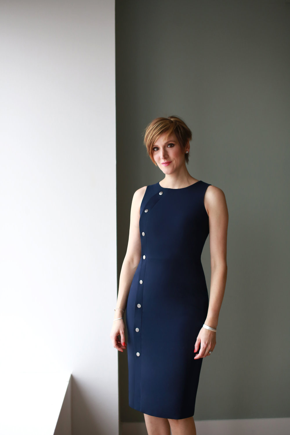 1. The Annmarie Dress in Navy - + Also comes in Oyster