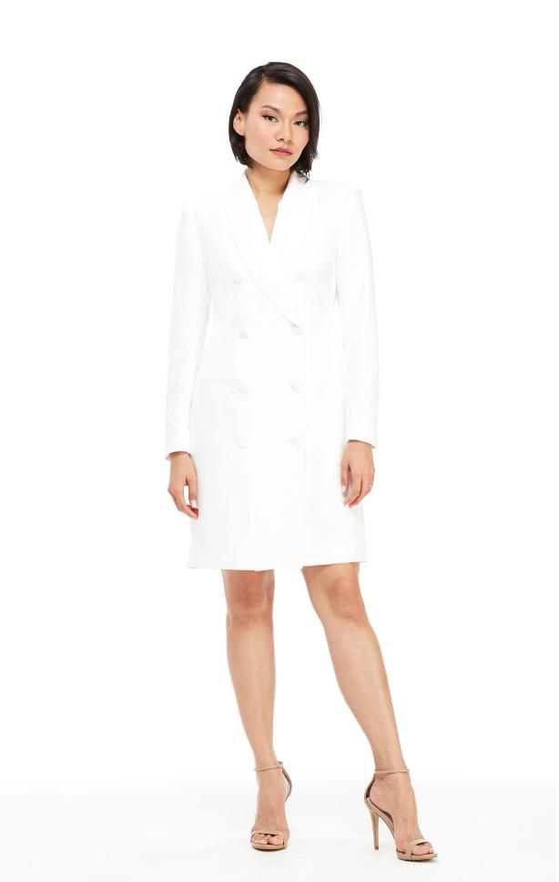 The Toni Tuxedo Dress - White