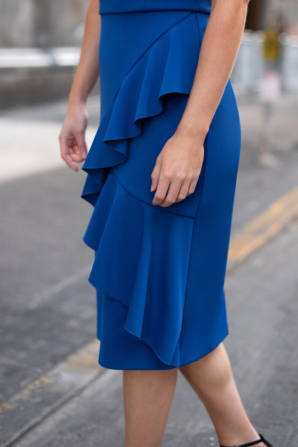 The Noreen Midi Dress - in rugby blue