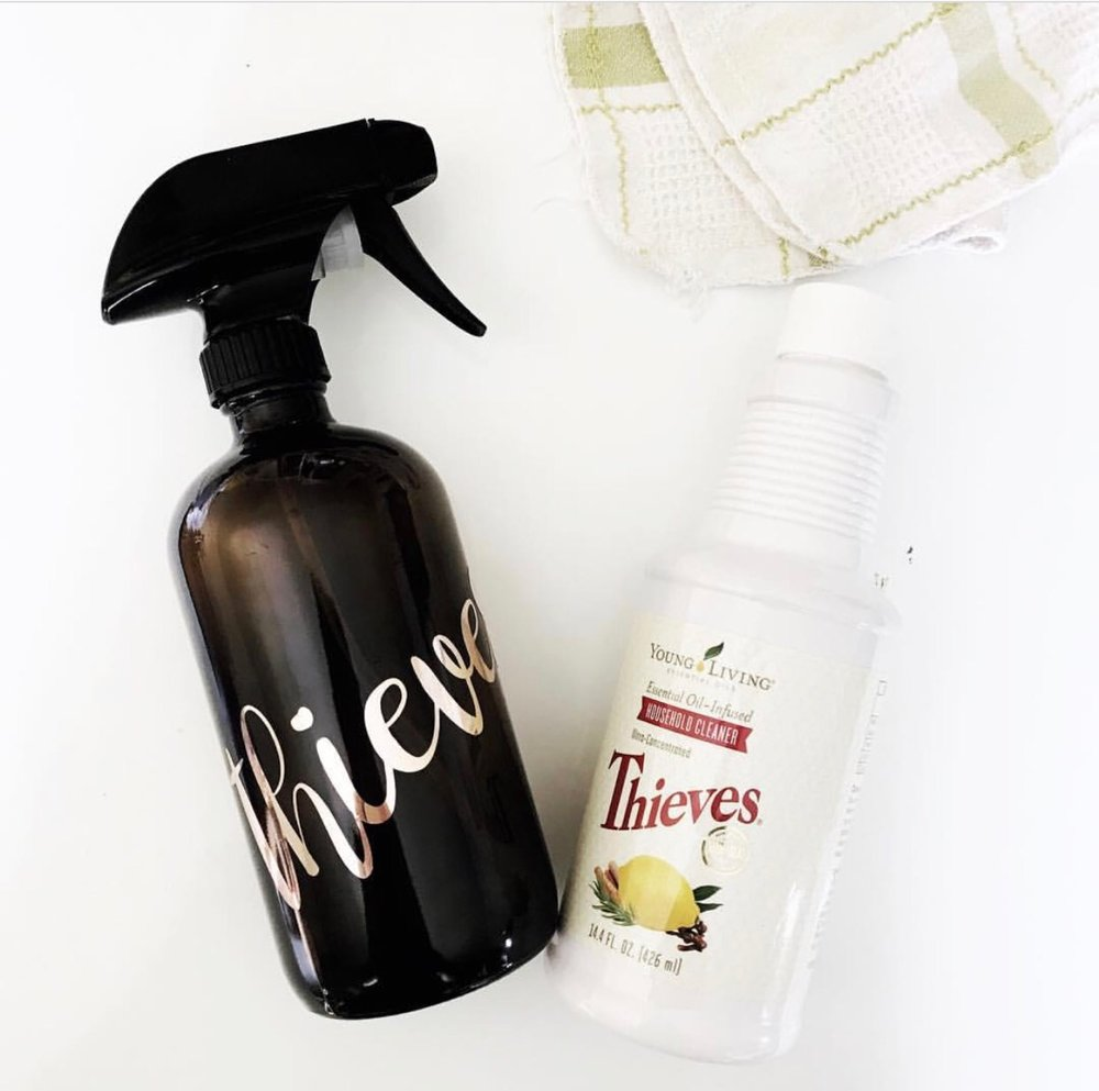Thieves cleaner is a blend of Clove, Lemon, Rosemary, Cinnamon and Eucalyptus. This one cleaning product replaced everything in my home. Glass, Bathroom, Kitchen, Car, etc. it does it all! Naturally.