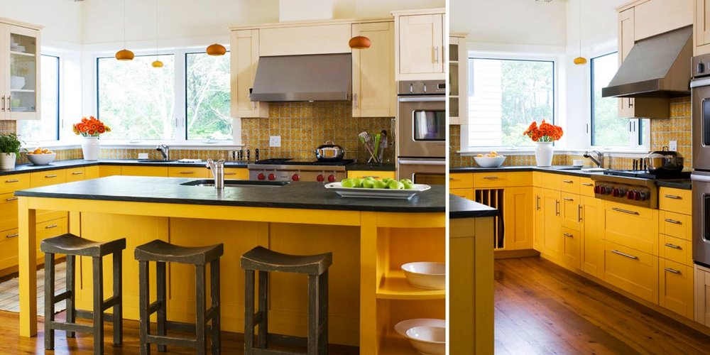 Yellow Strié Contemporary Kitchen